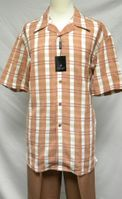 Montique Mens Brandy Plaid Short Sleeve Walking Suit 526