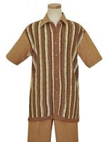 Pronti Cognac Knit Front Short Sleeve Mens Walking Suits 6063