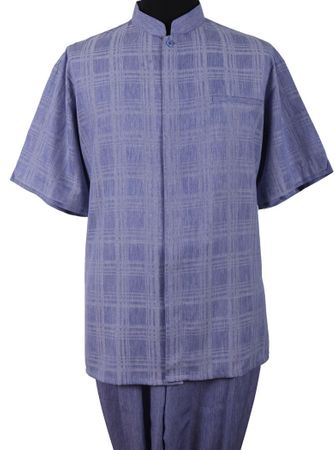Mens Short Sleeve Chinese Collar Blue Walking Suit Fortino M2958