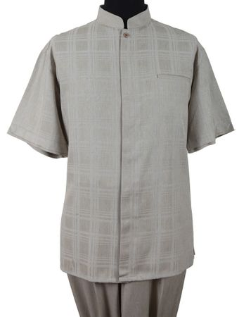 Mens Short Sleeve Chinese Collar Tan Walking Suit Fortino M2958 - click to enlarge