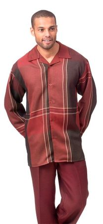Montique Mens Burgundy Pattern Leisure Walking Suit 1632