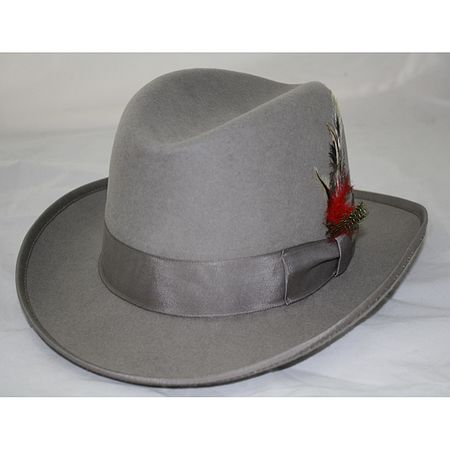 Mens Silver Godfather Hat 100% Wool Homburg 4201 2469c6964aad