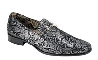 Mens Silver Shiny Paisley Smoker Slip On Entertainer Shoes AM 6682
