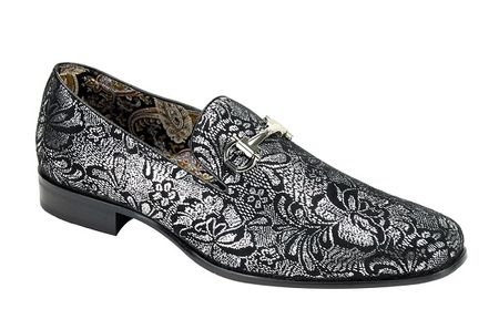 Mens Silver Shiny Paisley Smoker Slip On Entertainer Shoes AM 6682 Size 10