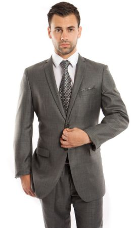 Men's Skinny Fitting Style Suits Green Heather Sharkskin Vented Center Tazio M181S-03