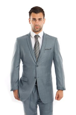 Men's Skinny Fitted Slim Suits Smoke Blue Heather Sharkskin One Vent Tazio M181S-02 - click to enlarge