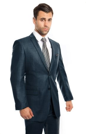 Men's Skinny Suits Navy Sharkskin Center Vent Tazio M181S-01