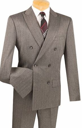 Men's Slim Fit Charcoal Double Breasted Herringbone Pattern Suit SDHB-1 - click to enlarge