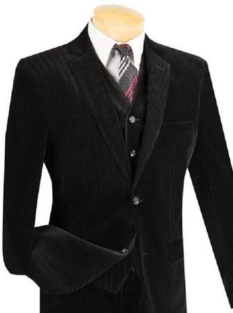 Men's Slim Fit Corduroy Suit 3 Piece Black Vinci Cord-1 - click to enlarge