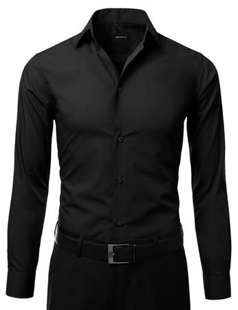 Mens Slim Fit Dress Shirt Black Button Down Ellissa DS3003