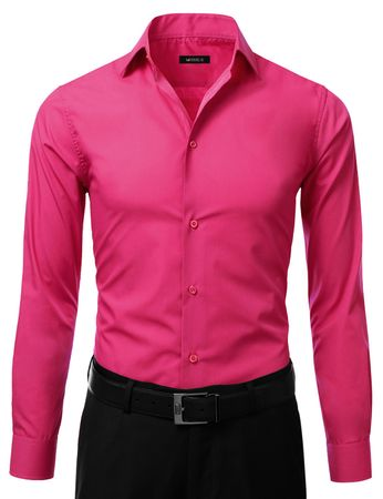 Mens Slim Fit Dress Shirt Fuchsia Button Down Ellissa DS3003