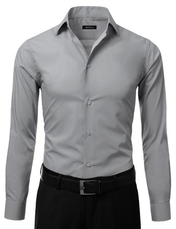 Mens Slim Fit Dress Shirt Grey Button Down Ellissa DS3003