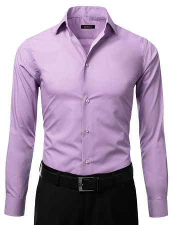 Mens Slim Fit Dress Shirt Lavender Button Down Ellissa DS3003