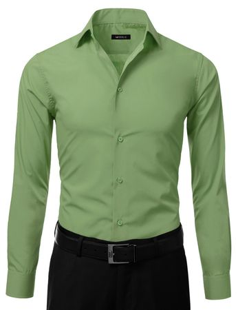 Mens Slim Fit Dress Shirt Lime Green Button Down Ellissa DS3003