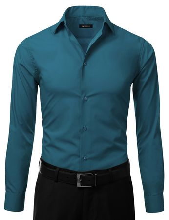 Mens Slim Fit Dress Shirt Teal Regular Cuff DE DS3003