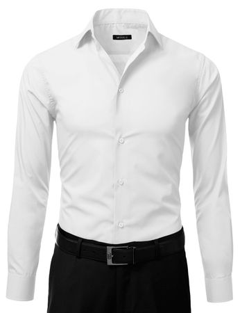 Mens Slim Fit Dress Shirt White Button Down Ellissa DS3003