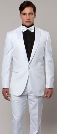 Mens Slim Fit Fashion White Tuxedo Peak Lapel Tazio MT182S-02