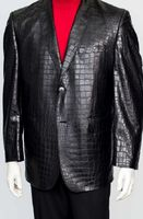 Zacchi Mens Black Crocodile Print Blazer 71100 Mickey Size 58 Reg Final Sale