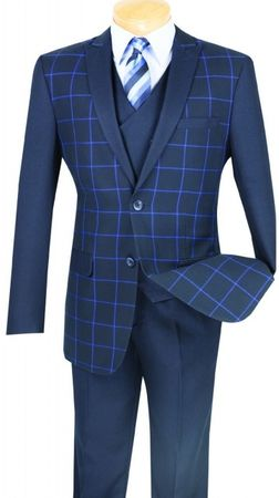 Mens Slim Fit Navy Square Pattern Designer Dinner Jacket Vinci BS-09