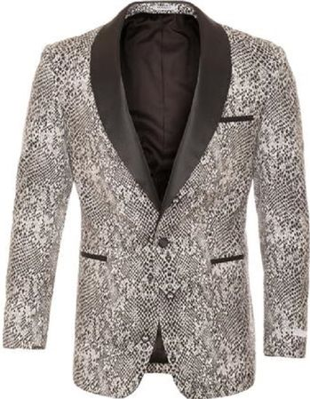 Ferrecci Tuxedo Blazer Modern Fit Black and White Snake Pattern Ash - click to enlarge