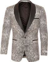 Ferrecci Tuxedo Blazer Modern Fit Black and White Snake Pattern Ash