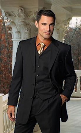Mens Solid Black 3 Button 3 Piece Suit Pleated Pants Milano 5802V