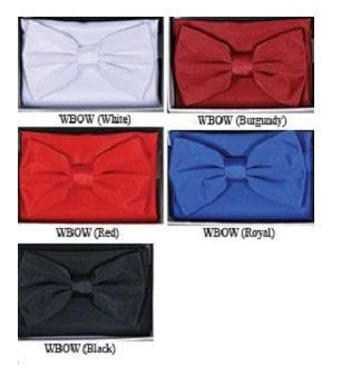 Mens Solid Color Bow Tie Hanky Sets WBOW