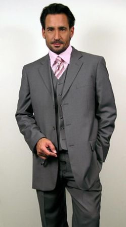 Mens Gray Suit with Vest 3 Button Regular Fit Milano 5802V
