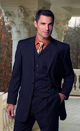 Mens Solid Navy Blue 3 Button 3 Pc. Suit Classy Style Milano 5802V - click to enlarge