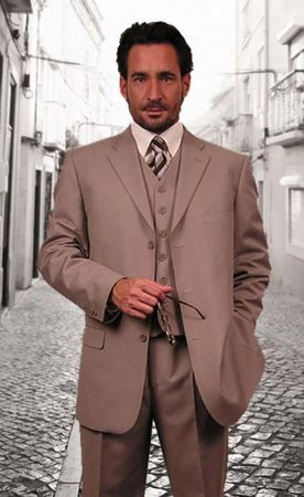 Mens Solid Tan Color 3 Button 3 Pc. Suit Italian Style Milano 5802V