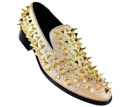 Mens Gold Spiked Loafers Prom Shoes Bolano Amali Mesa