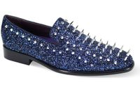 Mens Spiked Loafers Royal Blue Smoking Slip On 6788