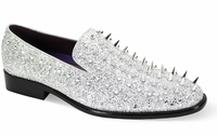 Mens Spiked Loafers Silver Smoking Slip On 6788