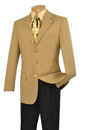 Mens Gold Sport Coat 3 Button Single Breasted Blazer Lucci Z-3PP