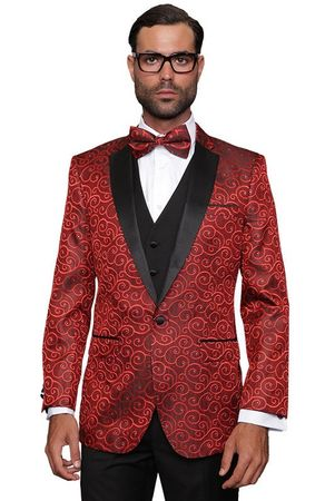 Mens Stage Performer Suit Red Sequin Paisley-200 3pc - click to enlarge