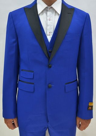 Sapphire Color Tuxedo Mens 3 Piece Modern Fit Alberto Stage