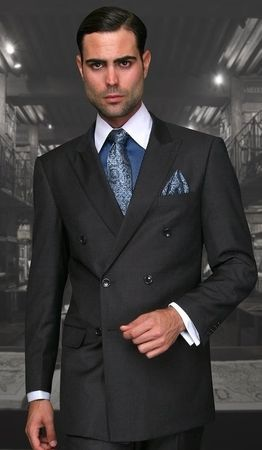 Mens Statement Fine Wool Charcoal Double Breasted Suits TZD-100