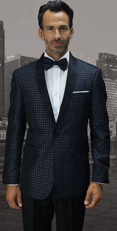 Mens Statement Royal Designer Modern Fit Dot Pattern Tuxedo Jacket SJ-101 - click to enlarge