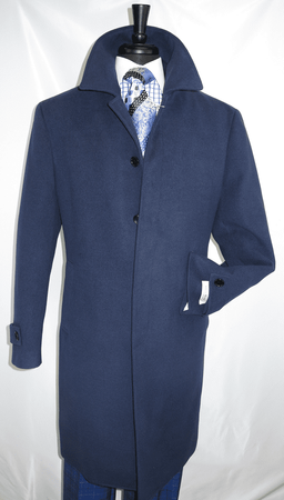 Mens Navy Wool Overcoat Covered Buttons Regular Fit COAT61 - click to enlarge