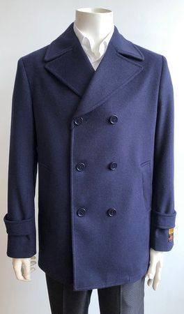 Men's Navy Wool Blend Pea Coat Alberto Pea-Coat - click to enlarge