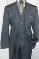 Mens Dark Gray 1940s Zoot Suit Shadow Type Stripe Vested Fortino 29198 Size 52 Long Final Sale
