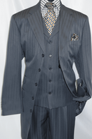 Mens Dark Gray 1940s Zoot Suit Shadow Type Stripe Vested Fortino 29198 Size 44 Long Final Sale