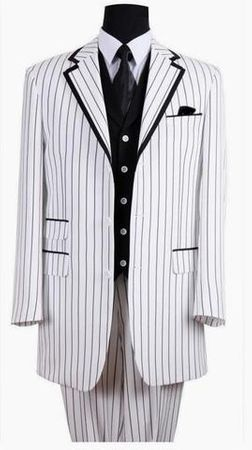 Milano White Black 3 Piece Zoot Suit Size 58 Long Final Sale - click to enlarge