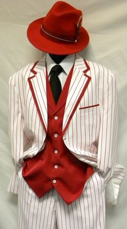 Zoot Suits Mens White with Red Stripe 3 Piece Milano Fortino 5908V Size 50 Reg Final Sale