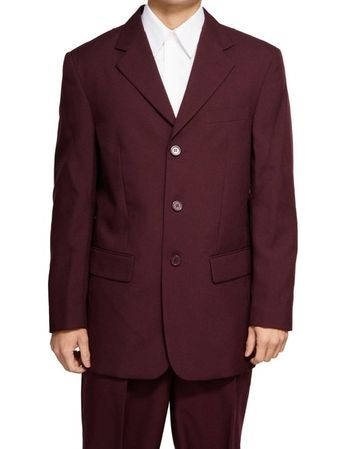 Mens Suits by Milano Dark Burgundy 3 Button Suit 802P