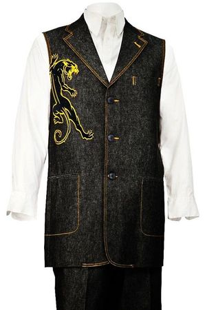 Canto Mens Black Panther Embroidered Pattern Denim Long Vest Outfit 9083