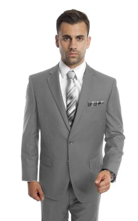 Mens Suits Gray 2 Piece Flat Front Pants Super 150s Tazio M202-05 - click to enlarge