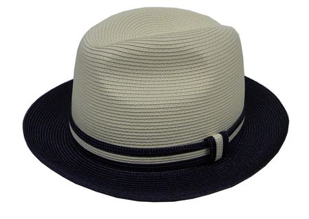 Capas Men's Straw Fedora Hats Navy Cream PC200 Size M,L,XL