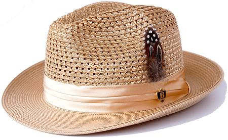 Mens Summer Hat Camel Straw Fedora BC503