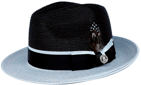 Mens Summer Hat Black Silver Straw BC625